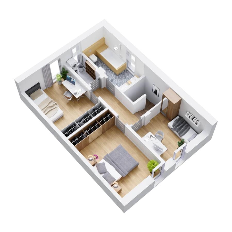 Rzut 3d piętra lokal 1A i 2A