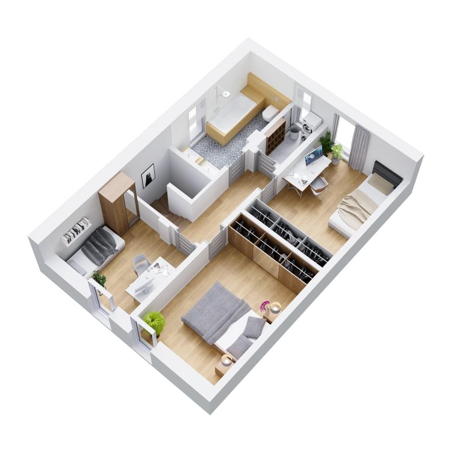 Rzut 3d piętra lokal 1B i 2B
